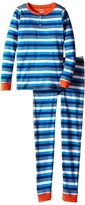 Hatley Blue & Orange Stripe Henley Pajama (Toddler/Little Kids/Big Kids)