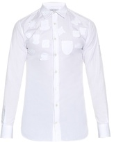 Alexander McQueen Badge-appliqué cotton-poplin shirt