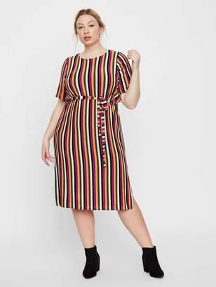 Junarose Striped Jersey Dress in Purple Wine Size 2XL