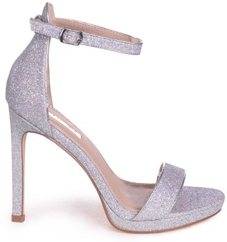 Barely There Linzi GABRIELLA - Silver Glitter Stiletto Heel With Slight Platform