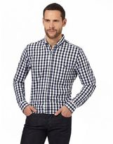 Jeff Banks Navy Dobby Textured Gingham Shirt