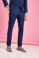 boohoo Mens Navy Skinny Fit Windowpane Check Suit Trousers, Navy