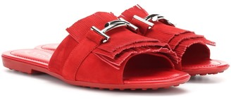 Tod's Double T suede slides