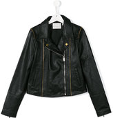 Une Fille - zipped leather jacket - kids - Sheep Skin/Shearling/Polyester - 16 yrs