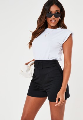 Missguided Black Belted Tailored Shorts