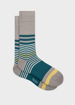 Paul Smith Men's Light Grey Mix-Stripe Socks