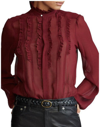 Polo Ralph Lauren Ruffle-Trim Silk Shirt