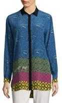 Etro Animal Colour Block Silk Shirt