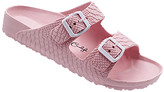 Jessica Carlyle Women's Sandals PINK - Pink Croc-Embossed Double-Strap Summer Sandal - Women