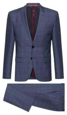 Extra-slim-fit suit in pop-color windowpane check