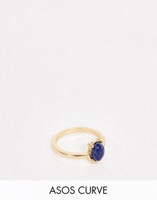 Asos DESIGN Curve pinky ring with semi precious blue lapis stone in gold tone