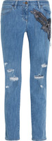 Roberto Cavalli Distressed Embellished Silk-appliquéd Mid-rise Straight-leg Jeans - Mid denim