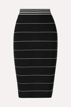 Herve Leger Striped Bandage Skirt - Black