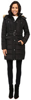 Tommy Hilfiger Belted Coat with Faux Fur Collar