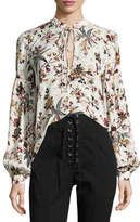 A.L.C. Ty Floral-Printed Split-Neck Silk Blouse