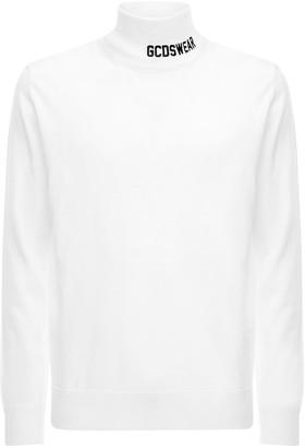 GCDS Logo Wool Blend Turtleneck Sweater