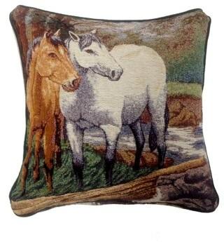 Arabella Rosalind Wheeler 2 Horses Throw Pillow Rosalind Wheeler