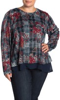 Bobeau B Collection By Mixed Media Tie Back Plaid & Floral Top (Plus Size)