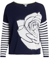 Thumbnail for your product : Joan Vass, Plus Size Rose Intarsia Sequin Sweater