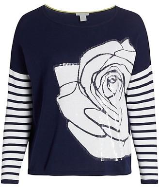 Joan Vass, Plus Size Rose Intarsia Sequin Sweater