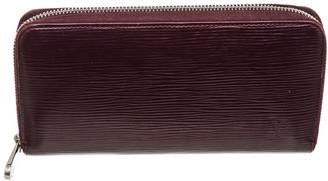 Louis Vuitton Maroon Leather Zippy Wallet