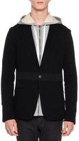 Lanvin Mixed-Media Jersey Blazer, Black