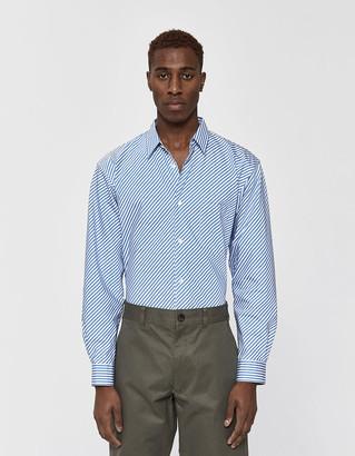 Comme des Garcons Men's Forever Diagonal Stripe Poplin Shirt, Size Large | 100% Cotton