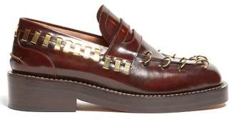 Marni Ring Embellished Square Toe Leather Loafers - Womens - Dark Brown