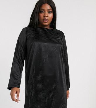 Asos DESIGN Curve mini shift dress in stud embellishment
