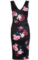 Quiz Black Floral V Neck Bodycon Dress