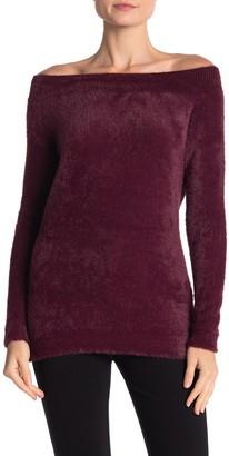 Love Token Off-the-Shoulder Fuzzy Knit Sweatshirt