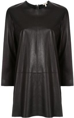 Hermes Pre-Owned elongated leather longsleeved blouse