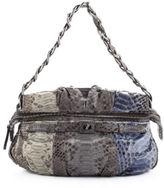Zagliani Blue Gray Taupe Python Chain Strap Shoulder Handbag