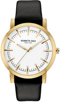 Kenneth Cole New York Men's Black Leather Strap Watch 44x51mm 10030810