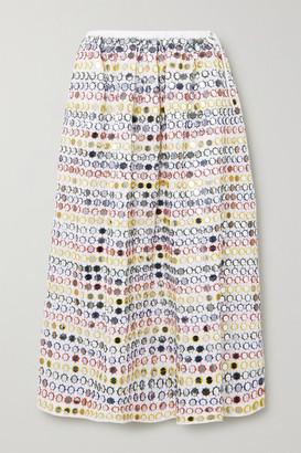 Ashish Sequin-embellished Cotton-poplin Midi Skirt - White