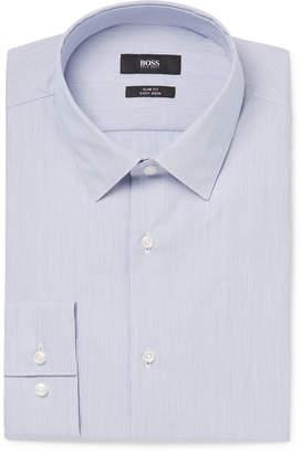 HUGO BOSS Blue Slim-Fit Striped Cotton-Poplin Shirt