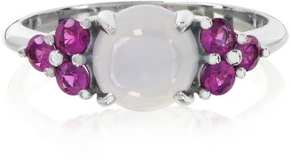Chalcedony and Fuchsia Sapphires 18K White Gold Ring