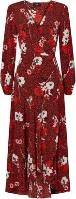 Wallis Red Animal Floral Print Wrap Dress