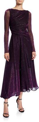 Talbot Runhof High-Neck Long-Sleeve Metallic Voile Midi Evening Gown