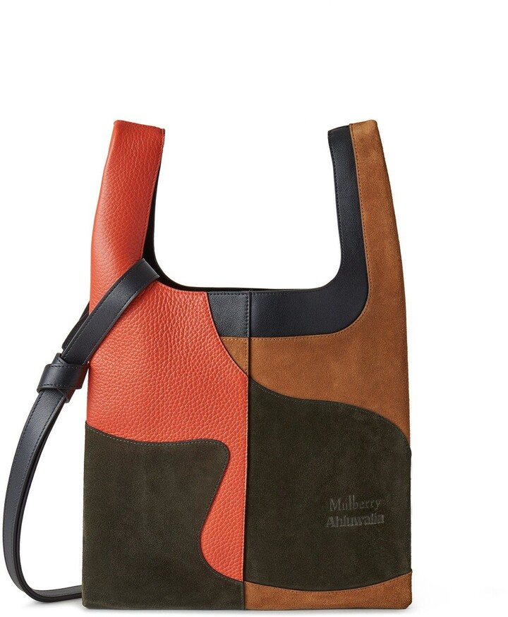 Thumbnail for your product : Mulberry x Ahluwalia Portobello Tote Black and Coral Orange Silky Calf and Suede