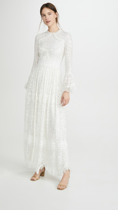 Costarellos Flounce Sleeve Ruffled Edge Embroidered Silk Dress