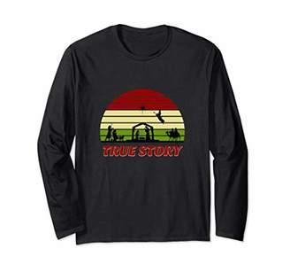 story. True Nativity Christmas Baby Jesus Manger Gift Idea Long Sleeve T-Shirt