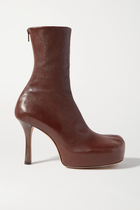 Bottega Veneta Leather Platform Ankle Boots - Brown