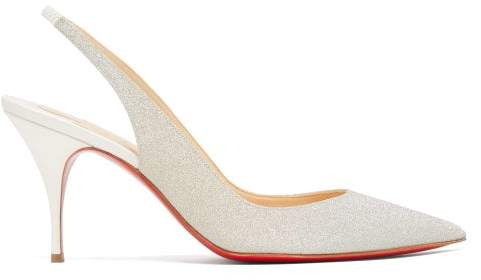 Christian Louboutin Clare 80 Glittered Slingback Pumps - Womens - Silver