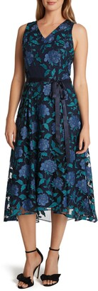 Tahari Sleeveless Floral Embroidered Tie Waist Midi Dress