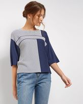 Jaeger Block Stripe Cropped Sweater