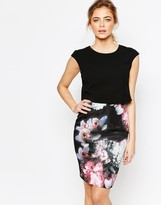 Ted Baker Bodycon Dress With Overlay in Ethereal Posie Print