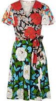 Diane von Furstenberg Printed Silk Crepe De Chine Wrap Dress - Green