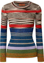 Missoni Striped Metallic Stretch-knit Top - Black