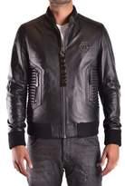 Philipp Plein Men's Black Leather Outerwear Jacket.